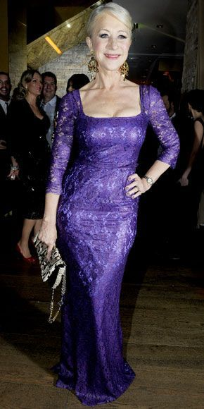 Helen Mirren feted Dolce & Gabbana at a Fashion Week bash in the label's purple lace column, statement earrings and a snakeskin bag. Winter 2010