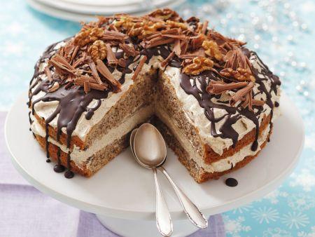 Rezept: Kaffeecreme-Walnuss-Torte