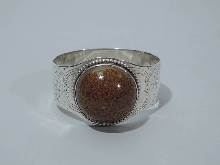 Victorian Napkin Rings by Barnard - English Sterling Silver & Hardstone image 3