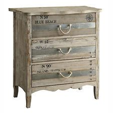 Grand Isle Sun Bleached Wood Finish 3 Drawer Chest