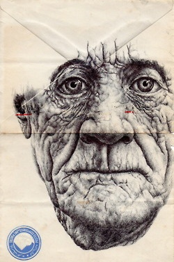 With only a ballpoint pen and a stack of used envelopes, London-based artist Mark Powell creates strikingly powerful portraits. I want to know the stories behind these craggy faces.