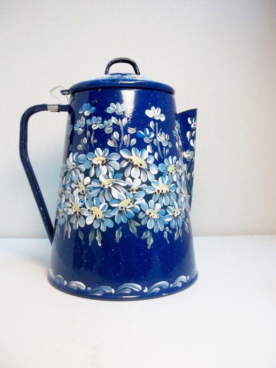 Blue Enamelware, Coffee Pot, Hand Painted, Scandinavian Design Style, Swedish Norwegian. Folk Art Style, Garden Daisies.