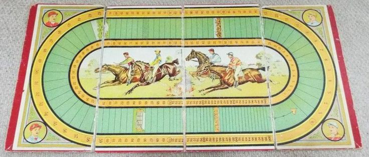 Vintage 1920's Horse Racing Steeplechase / Ludo / Chess Board - Board Only