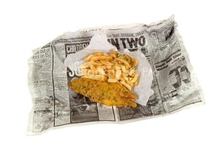Fish and chips wrapped in newspaper.... [but wrapped in white grease-proof paper first]. Newspaper was well-known for keeping things warm, great insulator... but the cheap print could give u lead-poisoning!