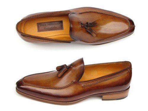 - Caramel and Brown hand painted leather upper with a split-toe - Antiqued…