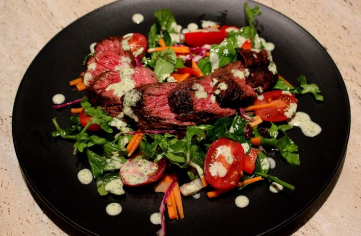 kangaroo salad with a sweet and spicy dressing
