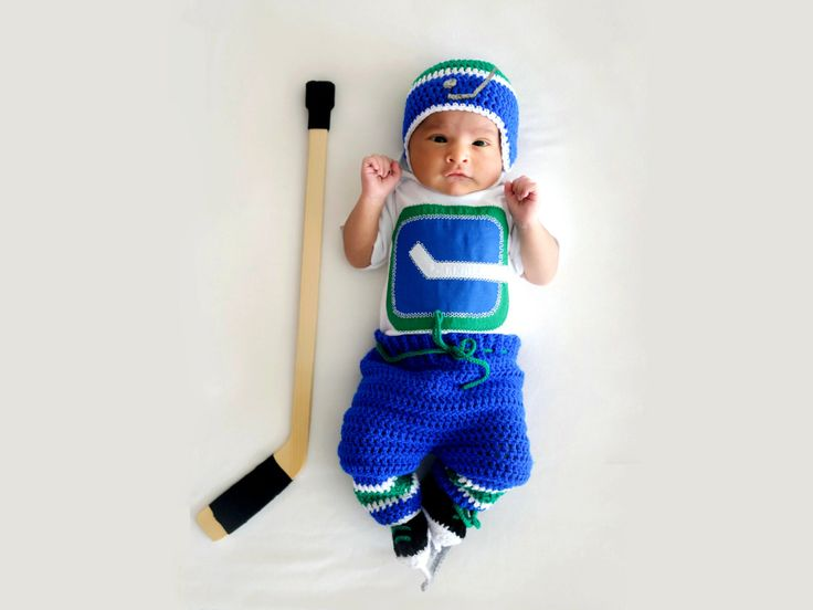 BABY HOCKEY BOY Vancouver Canucks pacifier not included, Hockey Baby Gift, Crochet Hockey Baby,  Baby Hockey Outfit, Knit Hockey Baby Hat by Grandmabilt on Etsy