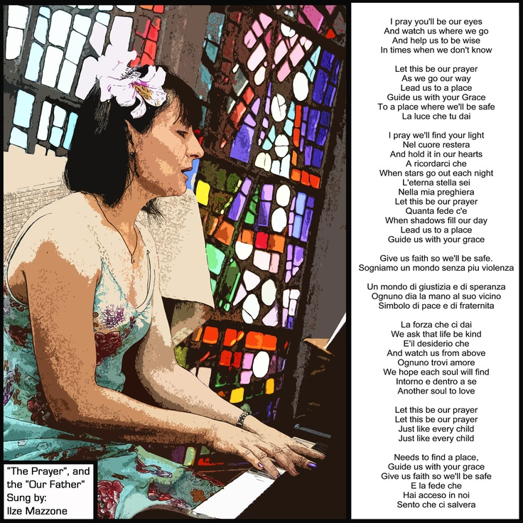 The pianist and singer at one of my children's christenings together with the words of the song she sang.