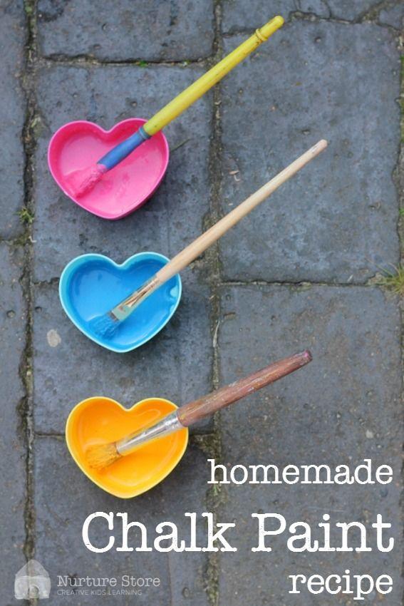 A great homemade chalk paint recipe - kids art using chalk - sensory play recipe - DIY paint recipe