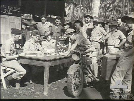 """""""Drive through"""" polling booth for RAAF at Milne Bay for federal election,1943. Source: AWM. Via: @AWMemorial."""