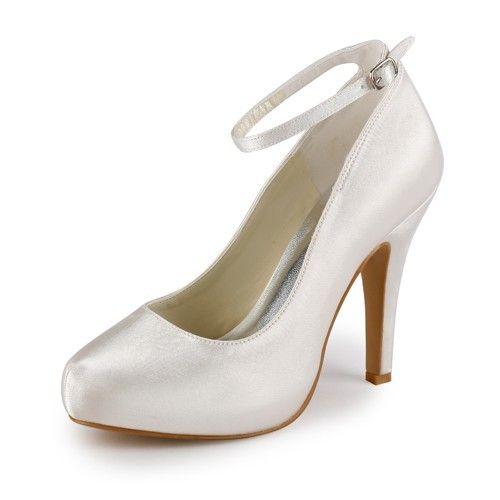 Women's Satin Stiletto Heel Closed Toe Platform Wedding Shoes With Buckle