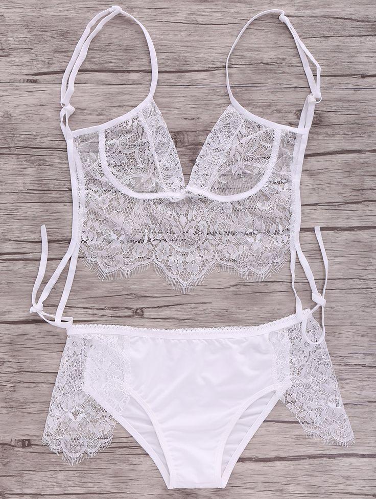 White Lace Splice Cami Lingerie WHITE: Lingerie #ZAFUL