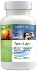 The evolution of the salt tablet...first there were sodium pills (good idea, but way too much sodium) then there were Sports Drinks (good idea, but way too many artificial ingredients). Now Purium presents Super Lytes, the ultimate rehydration and electrolyte supplement made from only the purest ingredients. This product was specially formulated for the 10-Day Transformation.  Instructions: Take 3 capsules daily.  Ingredients: Himalayan Pink Salt, Organic Rooibos Tea, vegetarian cellulose…