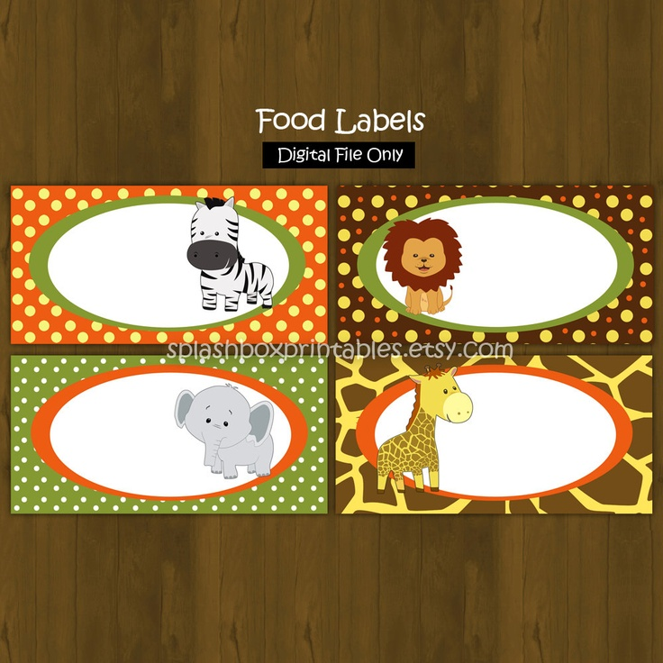 Safari Zoo Jungle Printable Food Labels - Wild Animals Place Cards or Food Labels (Tent Cards). $3.00, via Etsy.