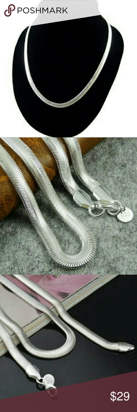 Silver snake necklace Bueatiful stamped .925 silver snake 6mm Jewelry Necklaces