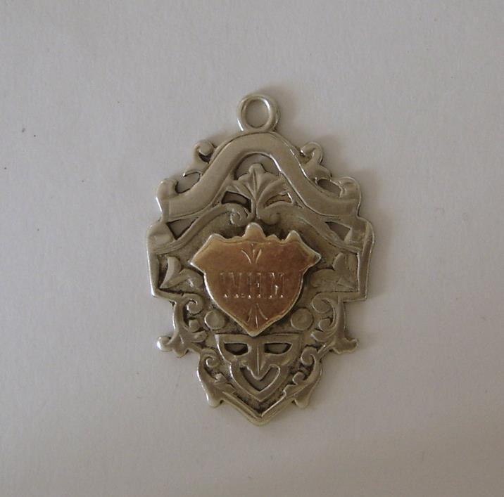 Antique Sterling & Rose Gold Pocket Watch Chain Fob Birmingham 1901