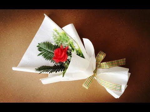 Wrapping single felt rose (easy) | cara membungkus 1 tangkai mawar flanel mudah - YouTube