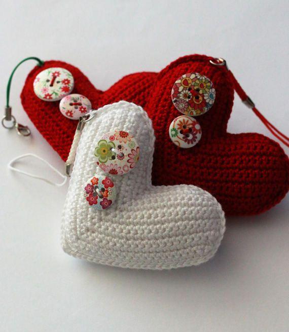 Bag charmCrochet heart ornamentEco-frienndly giftBag by UpRo