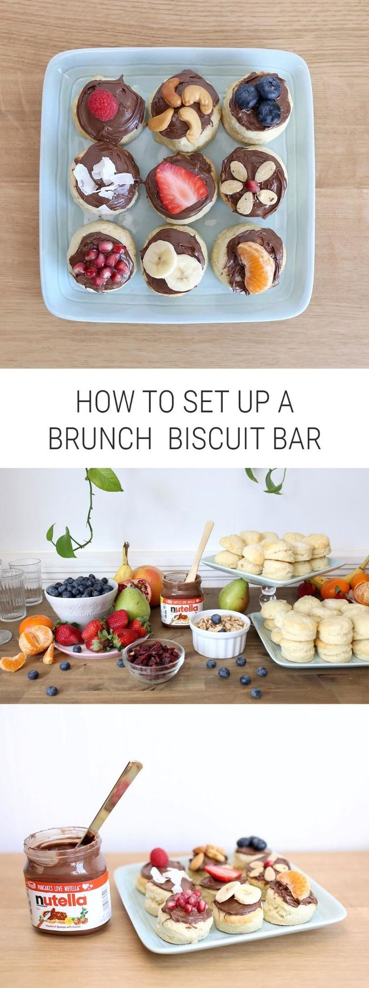 #Ad Learn how to put together a cozy, yummy brunch biscuit bar with Nutella® hazelnut spread, including lots of delicious fruit and nut toppings. It's the perfect breakfast idea for a mom gathering or a baby shower or bridal shower. @NutellaUSA