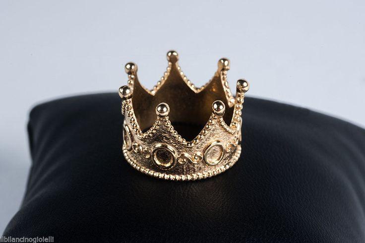 Anello Corona in Argento 925 placcato in Oro Giallo in Orologi e gioielli, Gioielli di lusso, Anelli | eBay
