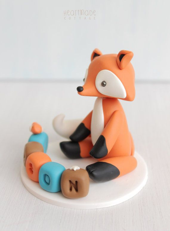 Fox baby shower cake topper woodland by HeartmadeCottage on Etsy