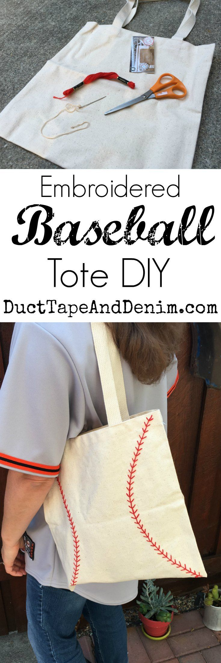 Embroidered baseball bag DIY, tote bag tutorial on DuctTapeAndDenim.com #ad #ProtectYourEverything