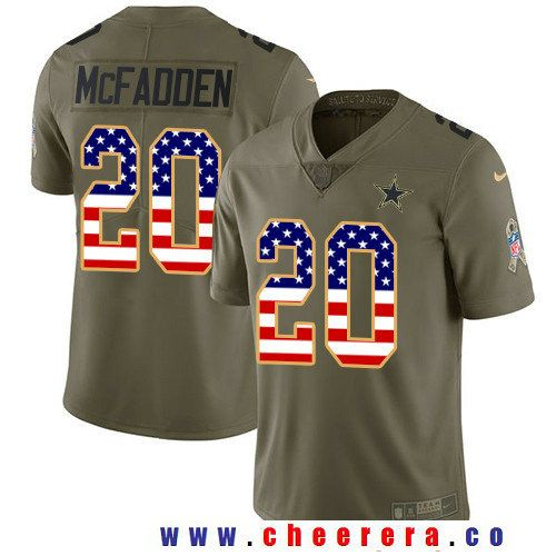 Men's Dallas Cowboys #20 Darren McFadden Olive with USA Flag 2017 Salute To Service Stitched NFL Nike Limited Jersey