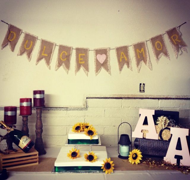 Country Bridal Shower Used couples first name initials as a monogram  Burlap Banner