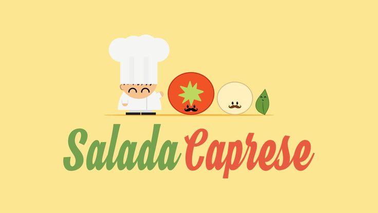 Salada Caprese. Muito fácil e rápido de fazer. Ingredientes: Tomate, muçarela de búfala, manjericão, sal e azeite.