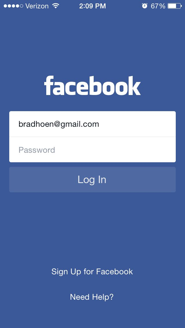 Facebook Login Screen App Login Onboarding App
