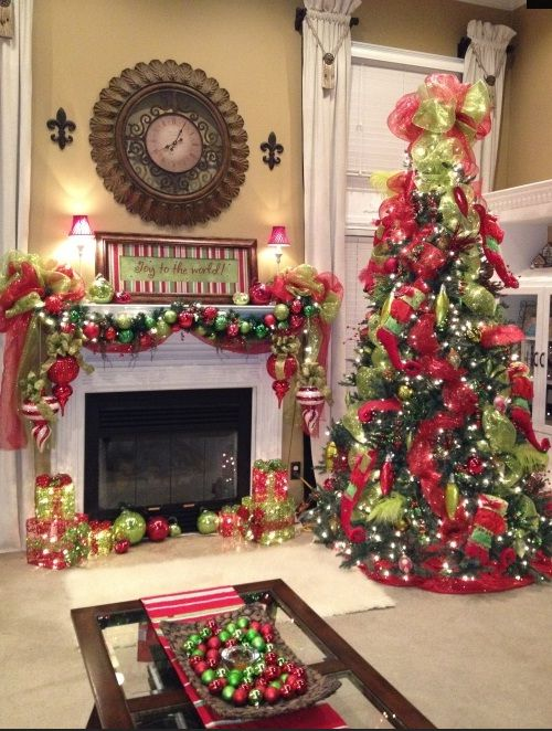 Christmas Mantle Decorating Ideas | Tree Mantel Christmas Fireplaces Decoration Ideas