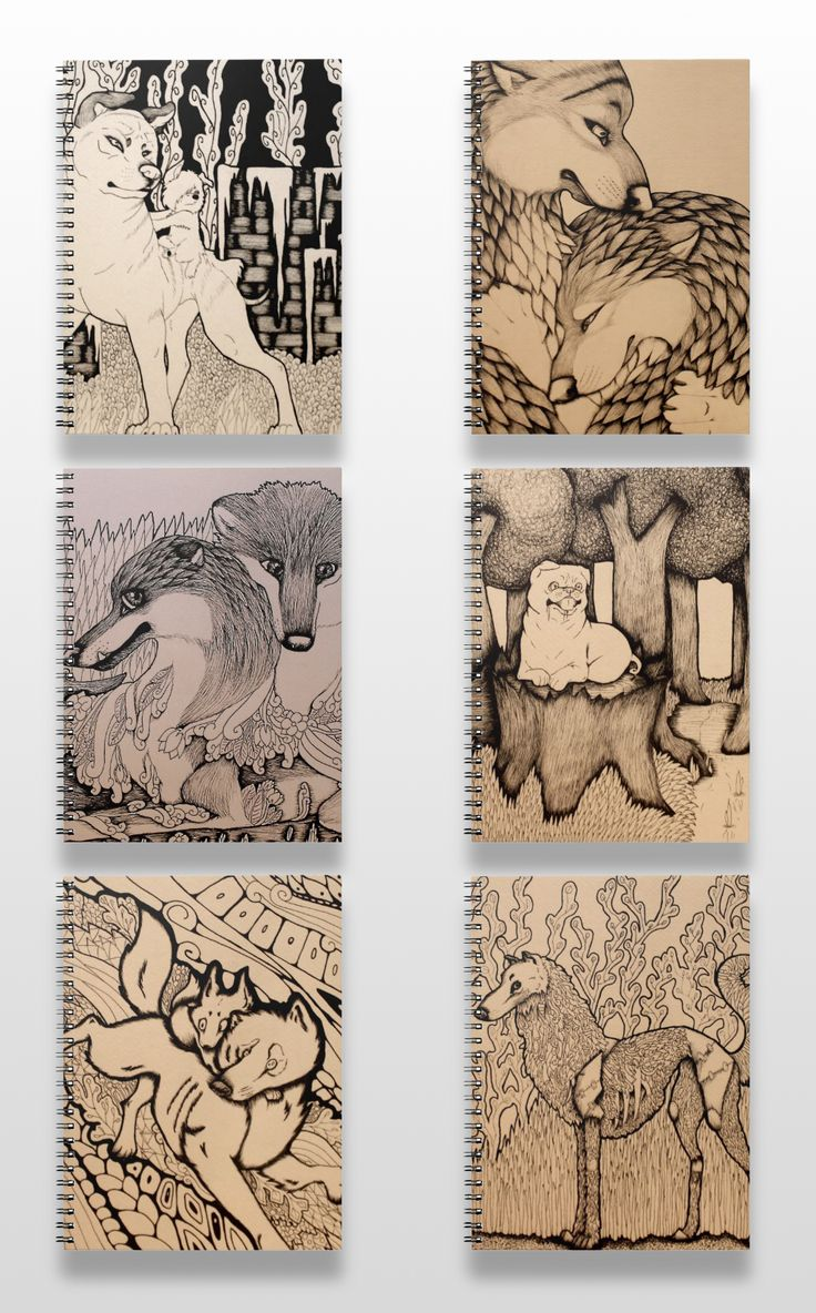 Black and white illustrated wolf, fox, and dog notebooks. #art #illustration #drawing #products