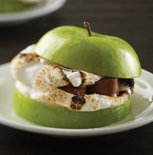Caramel Apple S'more - apple slices, toasted marshmallows, rolo caramels in milk chocolate.