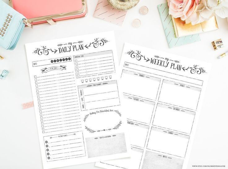 Bundle / Daily & Weekly Planner by Meadow Creative on @creativemarket