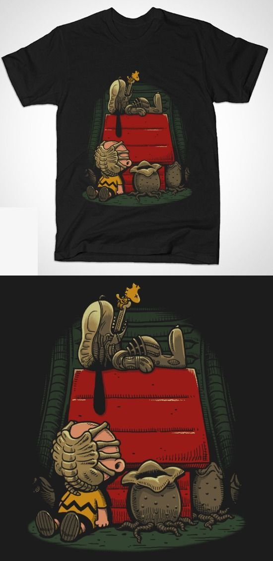 Alien Peanuts T Shirt | Awesome mashup design featuring Snoopy and Charlie Brown. | Visit http://shirtminion.com/2015/06/alien-peanuts-t-shirt/