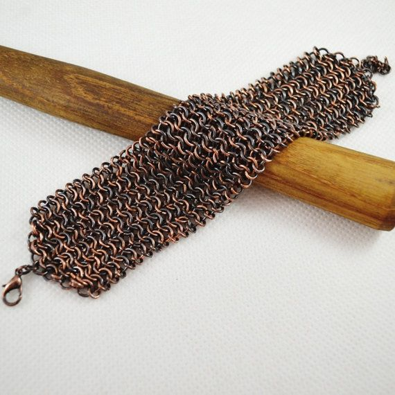 Mens Copper Bracelet Copper Chainmail Bracelet medieval jewelry Chainmaille Jewelry Wide Heavy For him cuff mens bangle copper men antiqued