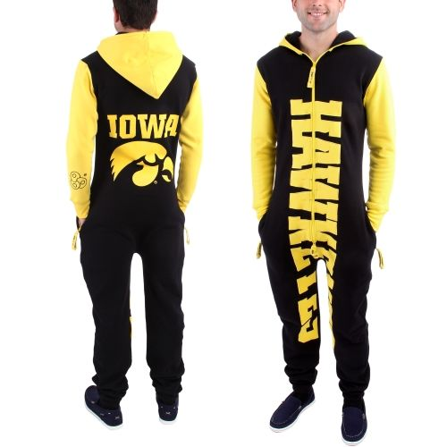 College Iowa Hawkeyes Zoopless Full-Zip Adult Jumpsuit ΓÇô Black