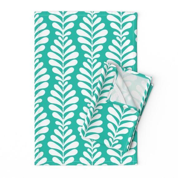 Foliage Tea Towels Set Of 2 Fern Ground Turquoise By Etsy Tea Towel Set Cotton Tea Towels Tea Towels