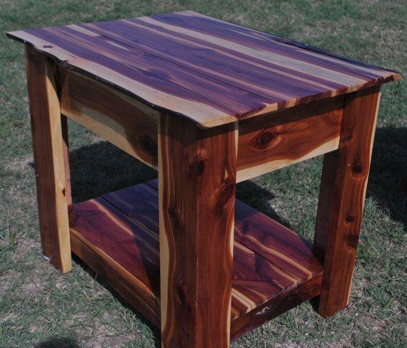 Handmade Red Cedar End Table with Hidden Gun by TwoOaksFarmstead