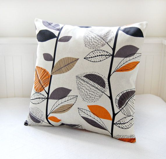 pillow cover leaves burnt orange grey black by LittleJoobieBoo, £21.00