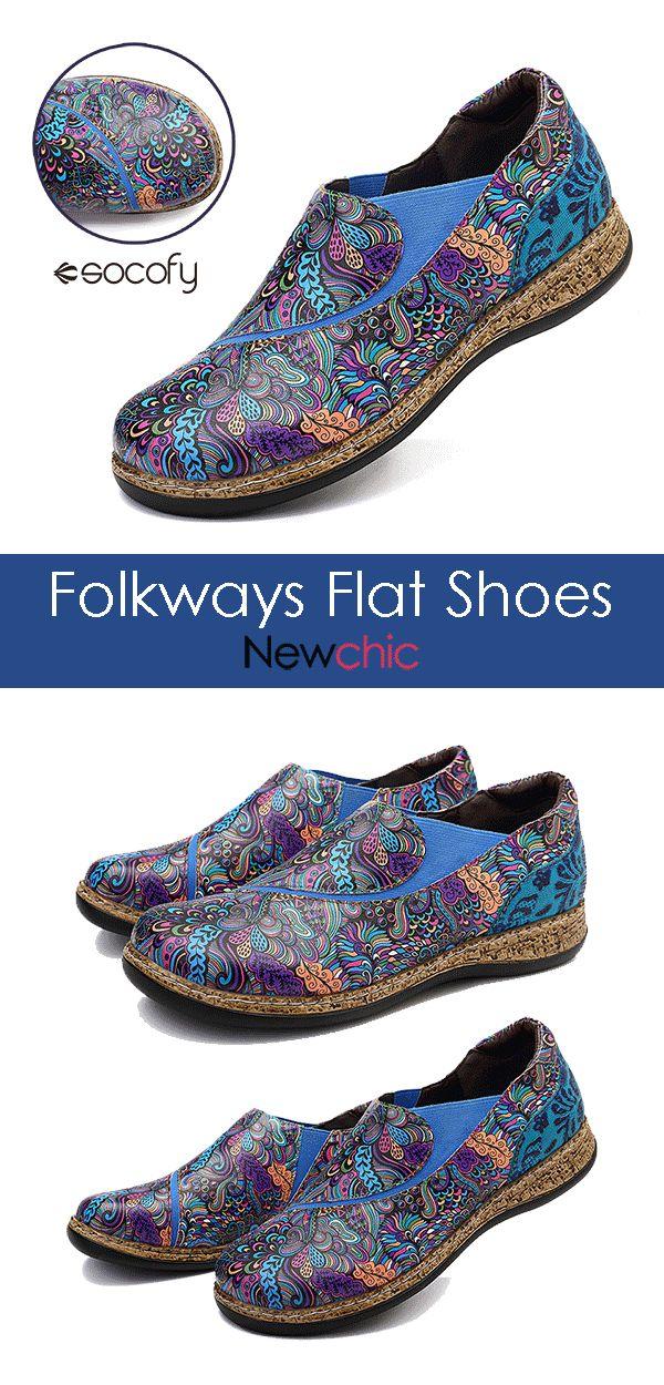 【48% off】SOCOFY Folkways Pattern Splicing Elastic Band Soft Stitching Slip On Flat Shoes.#shoes #womenshoes #flatshoes