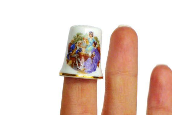 Fingerhut Porzellan Vintage weiß nostalgischer von LonasART auf Etsy