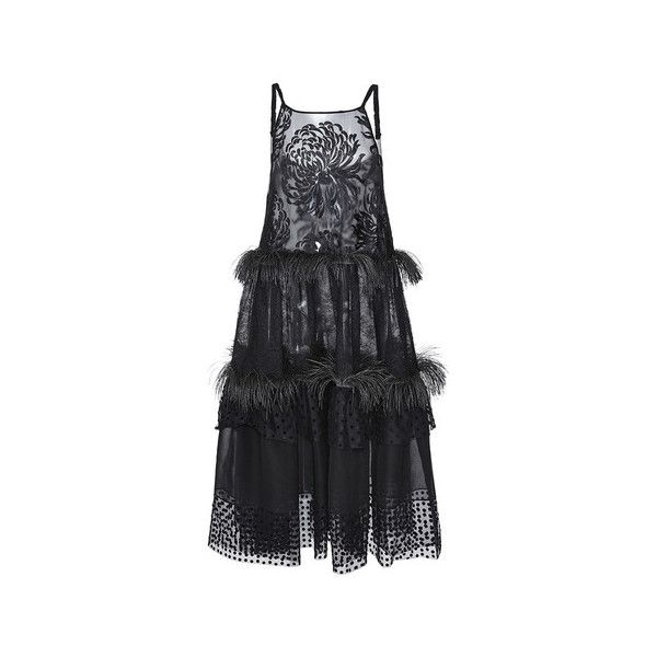 Rochas (83 950 UAH) ❤ liked on Polyvore featuring dresses, tiered fringe dress, trapeze dress, rubber dress, rochas dresses and embroidered dress