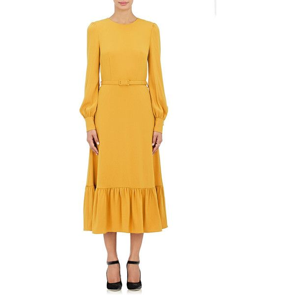 Co Women's Long-Sleeve Maxi Dress (€840) ❤ liked on Polyvore featuring dresses, yellow, ruched maxi dress, tie belt, ruched dress, yellow maxi dress and longsleeve dress