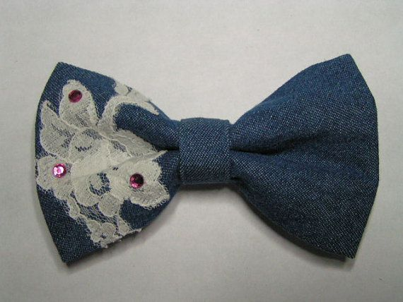 Denim with lace hair bow for women teens and by ClipaBowBoutique, $6.99
