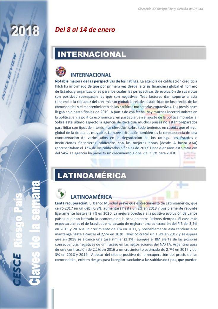 Resumen de las noticias internacionales más destacadas del 8 al 14 de enero de 2018, elaborado por el departamento de Riesgo País de CESCE.