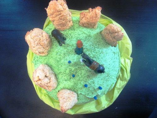 Pixar Brave birthday cake with Sconehenge and wisps!