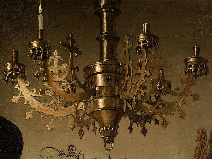 Jan van Eyck-Ritratto dei coniugi Arnolfini(dettaglio del lampadario a sei bracci con una sola candela accesa ,simbolo matrimoniale, motivo iconografico che deriva dalla candela nuziale che a volte compare nell'annunciazione. ) 1434, olio su tavola, 81,8x59,7 cm, Londra, National Gallery