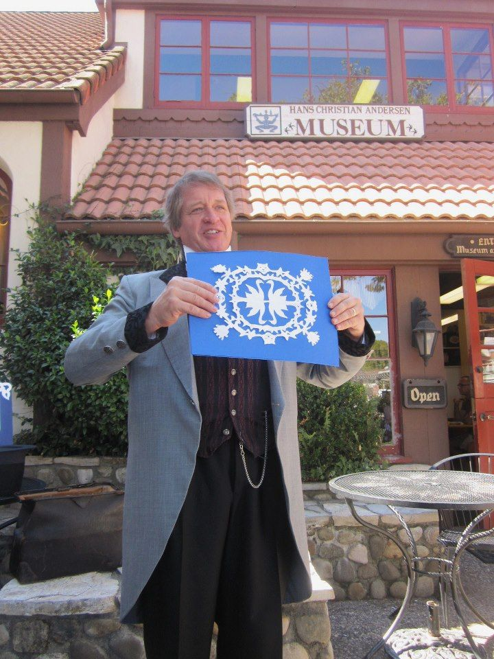 Here is one of the story-cuttings as I first showed it to my audience in Solvang, CA. Photo by Cynthia Crawford.