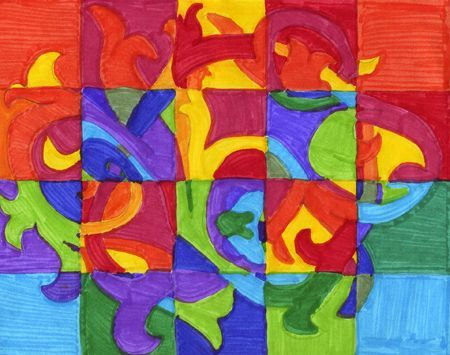 Use Any Color Scheme A Grid And Contour Lines To Create An Abstract Design